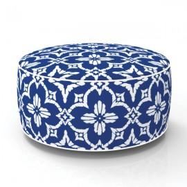 Pouf in & out gonflable Fleurs Batik bleu