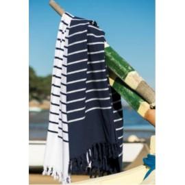 Serviette de bain marinière, éponge et coton frangée