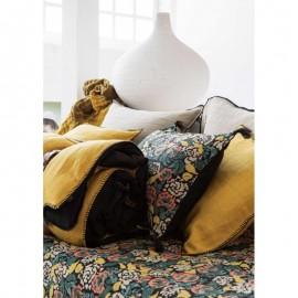 Edredon Sofa Cover velours imprimé feuillage NOIR