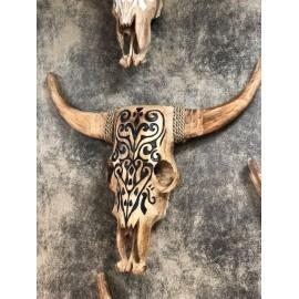 Tête de buffle bois sculpté