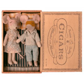 Parents souris dans une boîte d'allumettes