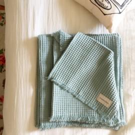 Serviettes de toilette nid d'abeille 3 tailles - jade - Annabel Kern