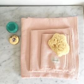 Serviettes de toilette nid d'abeille Poudre - 3 tailles - Annabel Kern